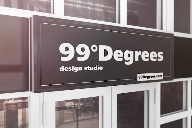 Building advertising sign mockup