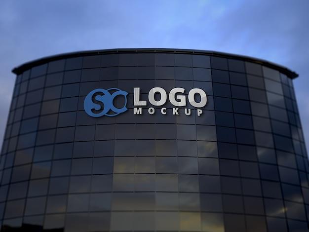Мокап здания логотипа