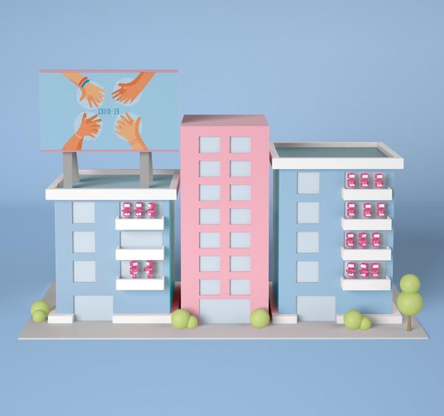 ロボットとコロナウイルスの看板を使った建物