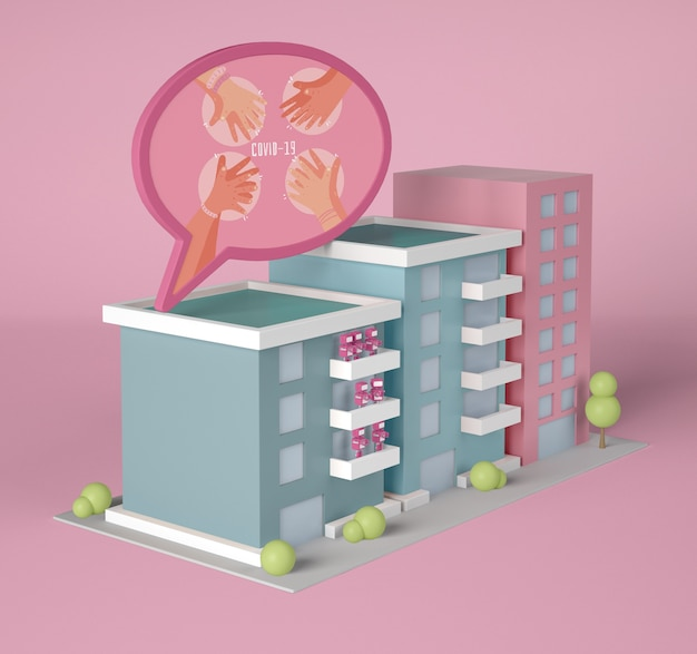 Buildings with coronavirus chat bubble