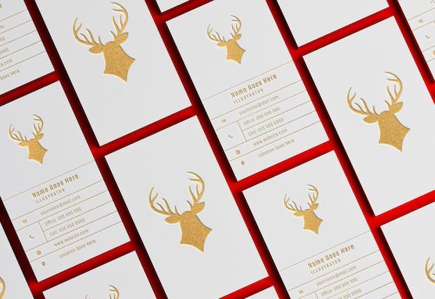 Bunch of modern business card mockup with golden letterpress effect