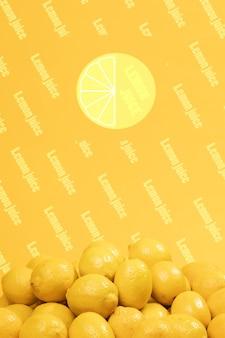 モックアップと有機レモンの束
