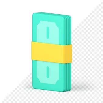 Пачка банкнот скреплена лентой 3d визуализации. зеленые деньги перевязаны желтой бумажной полосой. финансовая прибыль и богатые вложения. процветающая экономика при успешном инвестировании в бизнес.