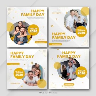 Социальные медиа пост баннер bundle международный день семьи шаблон