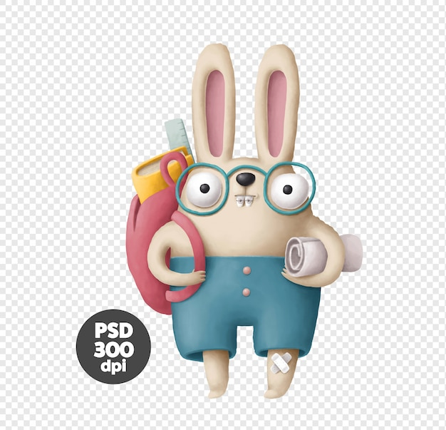 Bunny in glasses and with a backpack
