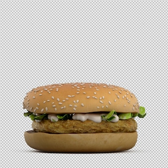 Burger 3d isolated render
