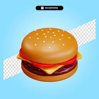 分離されたハンバーガー3dレンダリングイラスト