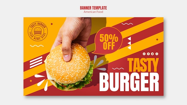 Burger american food banner template