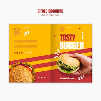Burger american food bifold brochure template
