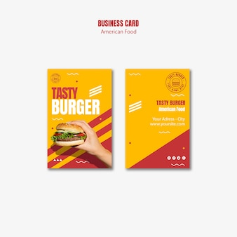 Burger american food business card template