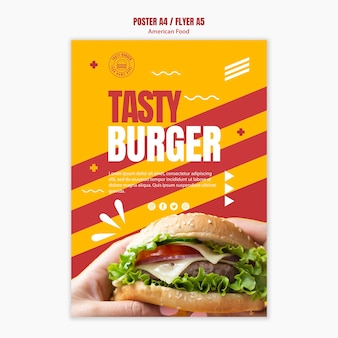 Шаблон плаката бургер американской кухни