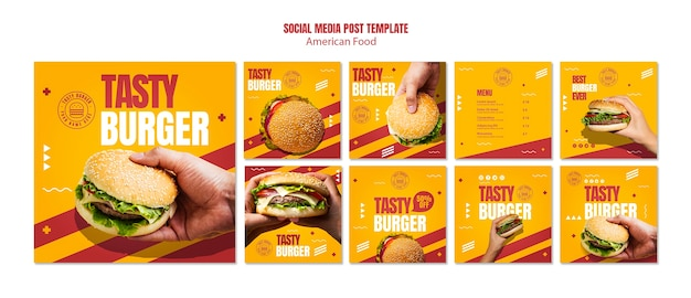 Modello di post social media hamburger cibo americano