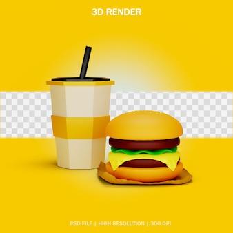 3dデザインの透明な背景を持つハンバーガーとドリンクカップモデル