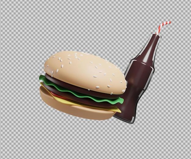 ハンバーガーとソーダの3dイラスト