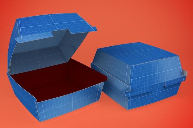 Мокап коробки с бургером