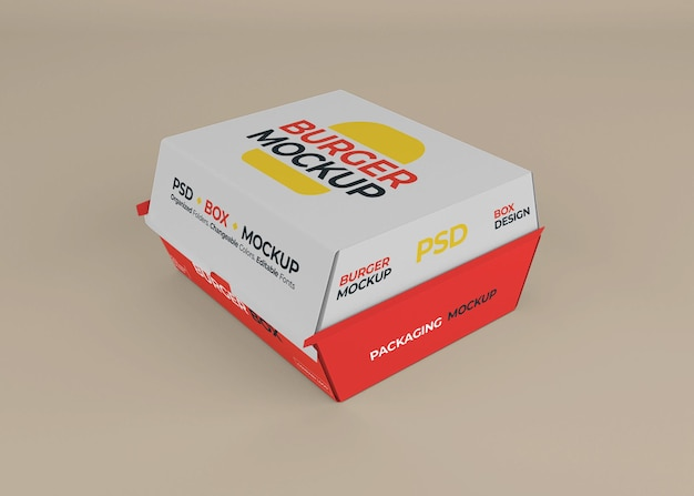 Burger box packaging mockup design isolated