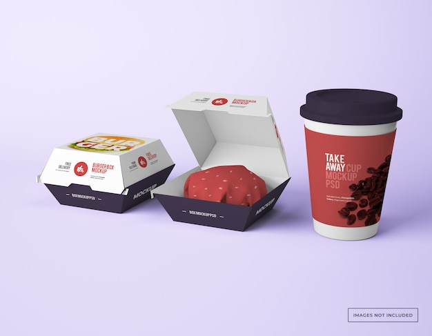 Burger box packaging with take away paper cup mockups
