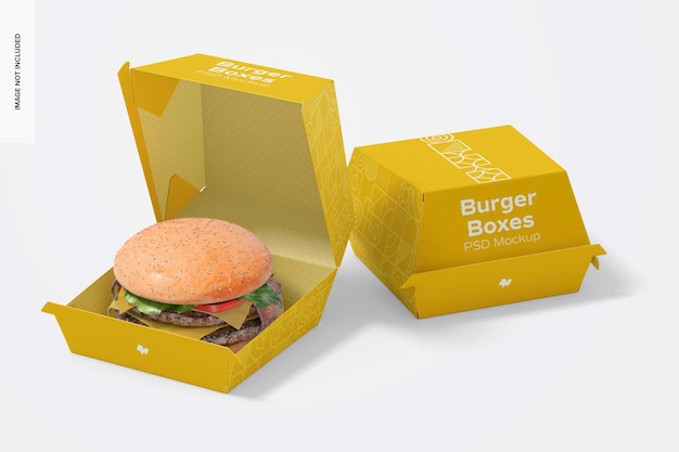 Burger boxes mockup, opened and closed