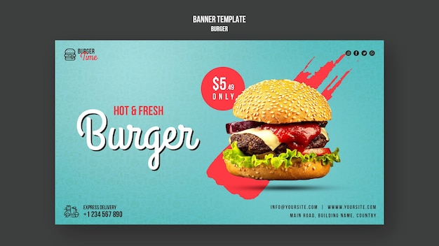 Burger concept banner template