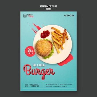 Шаблон флаера концепции бургера