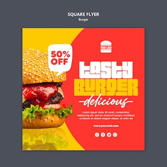 Burger concept square flyer template