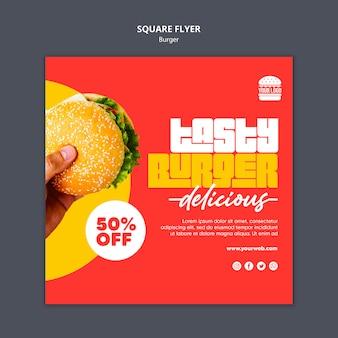 Modello di volantino quadrato concetto di hamburger