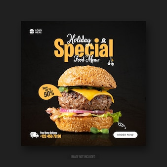 Burger fast food menu promotion social media instagram post web banner or square flyer template