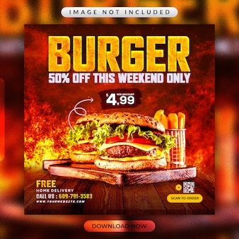 Burger flyer or restaurant social media banner template