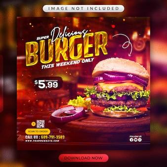Burger flyer or social media banner template