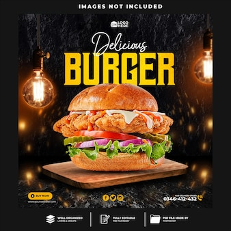 Сообщение о бургере в социальных сетях и шаблон веб-баннера