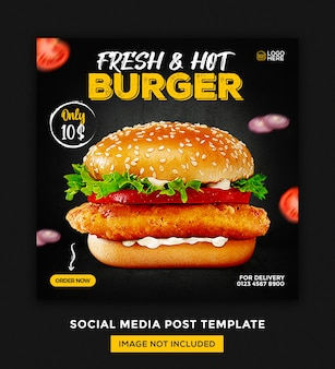 ハンバーガーフードメニューとレストランソーシャルメディア投稿デザインテンプレート