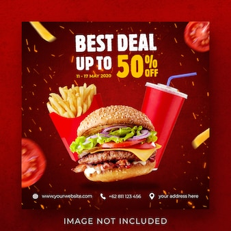 Burger food menu promotion instagram post banner template