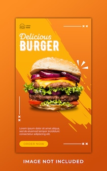 Burger food menu promotion instagram stories banner template
