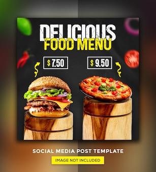 Burger food menu promotion social media instagram post banner template