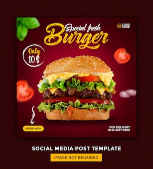 Burger food menu and restaurant social media post design template