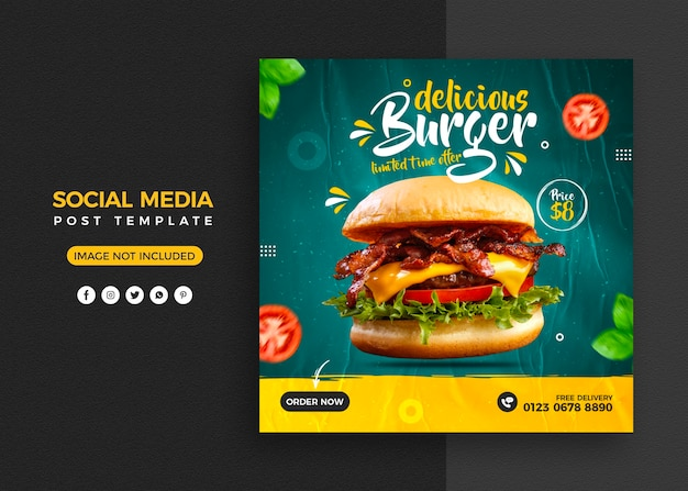 Burger food menu and restaurant social media post and instagram banner template