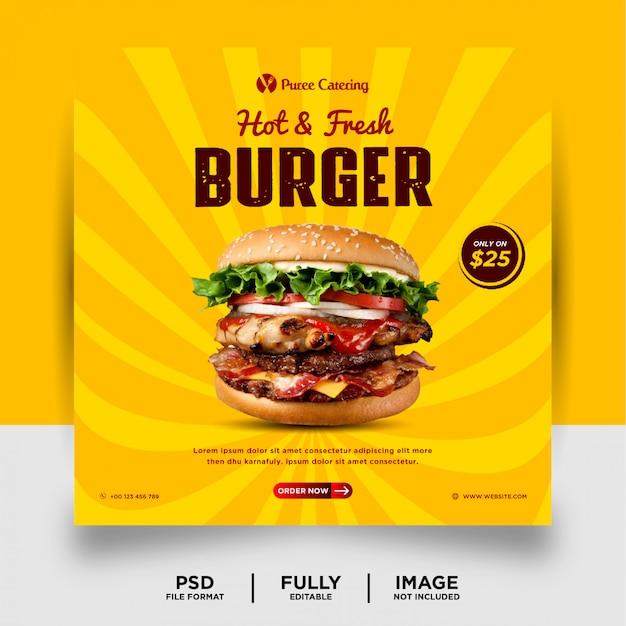 Burger food promotion social media post banner