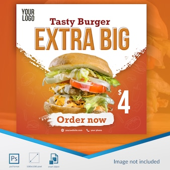 Шаблон сообщения в социальных сетях burger food