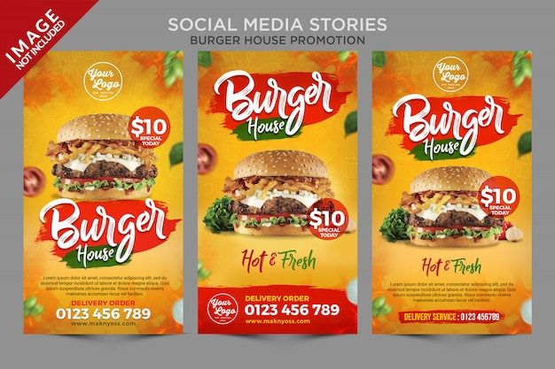 Серия историй в социальных сетях burger house
