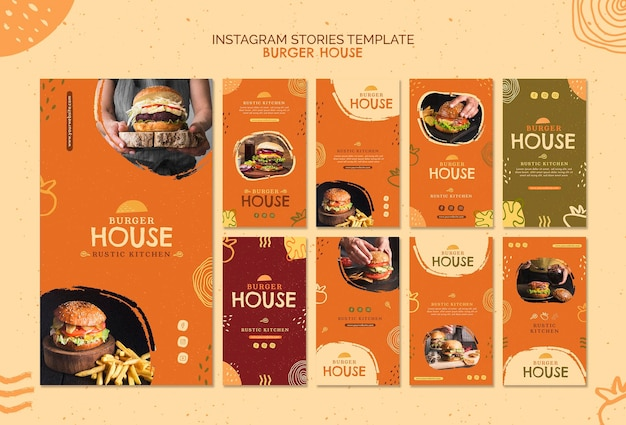Burger house template instagram stories