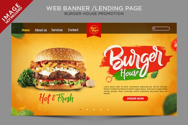 Burger house web banner or landing page series