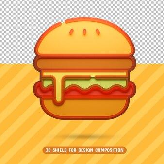 ハンバーガーアイコン3d