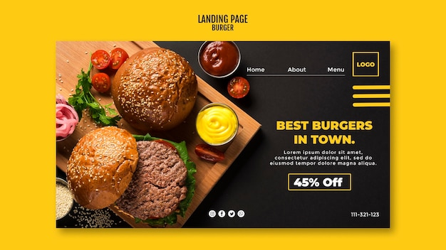 Burger instagram landing page template