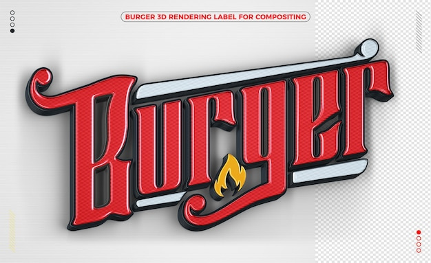 Burger label 3d render yellow and white