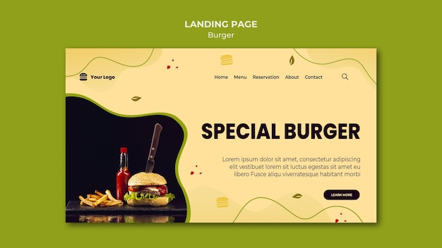 Шаблон целевой страницы бургера