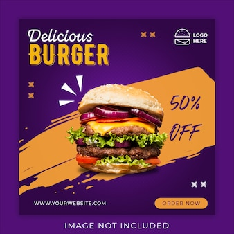Burger menu promotion banner template
