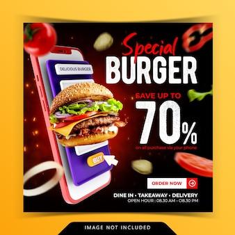 Burger menu promotion instagram social media banner template