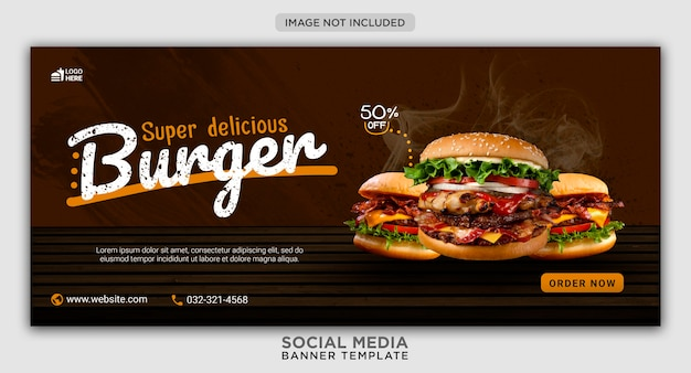 Шаблон баннера в социальных сетях для продвижения меню бургера