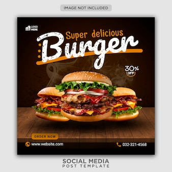 Burger menu promotion social media banner template
