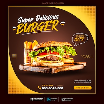 Burger menu promotion social media instagram banner template